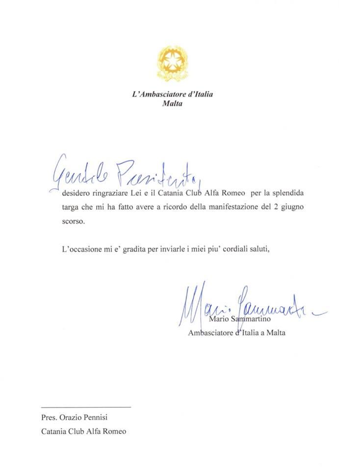Riconoscimento Ambasciatore Italiano a Malta